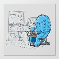 potter Canvas Prints featuring Hairy Potter by awkwardyeti