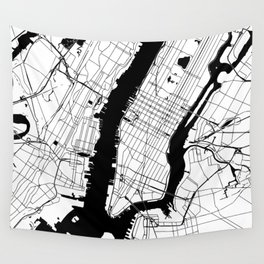 New York City Minimal Map Wall Tapestry