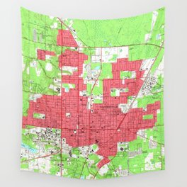 Vintage Map of Gainesville Florida (1966) 2 Wall Tapestry