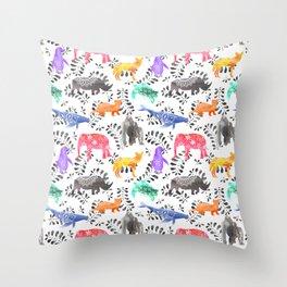 Endangered Animals Watercolor Pattern Throw Pillow