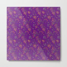 Poppy Floral - Purple Metal Print