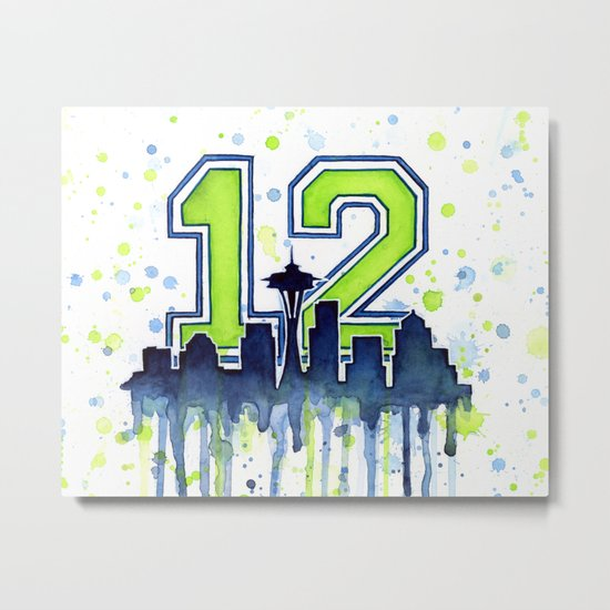 Seattle 12th Man Fan Art Seattle Space Needle Metal Print