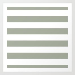 Large Desert Sage Grey Green and White Cabana Stripes Art Print