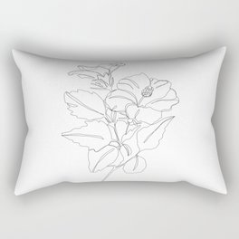 Floral one line drawing - Hibiscus Rectangular Pillow