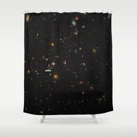 comic Shower Curtains featuring THE UNIVERSE - Space | Time | Stars | Galaxies | Science | Planets | Past | Love | Design by Mike Gottschalk