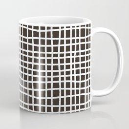 chocolate brown random cross hatch lines checker pattern Coffee Mug