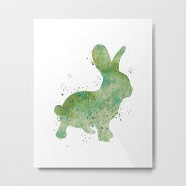 Green Bunny Watercolor Painting Metal Print