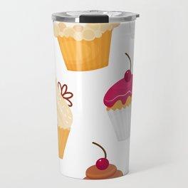 Dulce y sabrosa comida postre cupcake patrón transparente ilustración vectorial Travel Mug