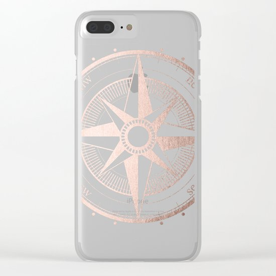 Rose Gold Compass Clear iPhone Case