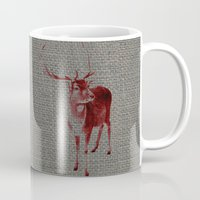 stag Mugs featuring Stag by Axiomatic Art