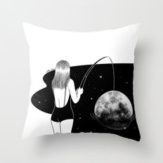I just got mooned Throw Pillow