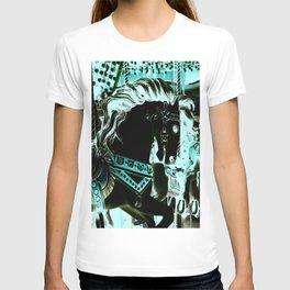 Carousel Horse Turquoise Aqua T-shirt