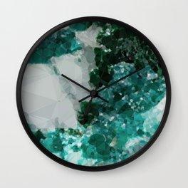 Malachite Low Poly Geometric Triangles Wall Clock