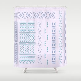 Hand-drawn Tribal Tattoos in Lilac Shower Curtain