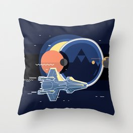 Spacecraft, spaceship in space, planet and sputnik, star war Throw Pillow