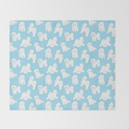 Bichon Frise Pattern (Blue Background) Throw Blanket
