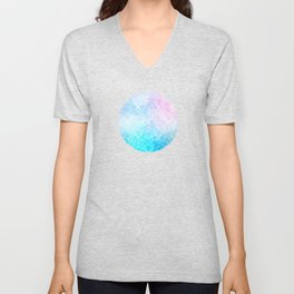 Geometric White Pattern on Watercolor Background Unisex V-Neck