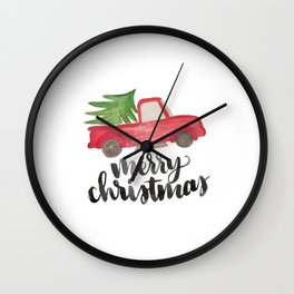 Merry Christmas Vintage Truck with Tree Wall Clock