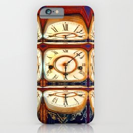 Multiple traditional antique clock faces with Roman numerals shown in glass reflection shapes iPhone Case