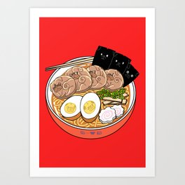 Ramen Pugs Art Print