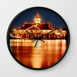 Golden Glow from the Balboa Pavillion, Newport Beach Wall Clock