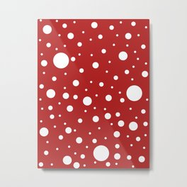 Mixed Polka Dots - White on Firebrick Red Metal Print