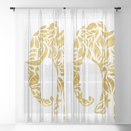 Floral Elephant in Gold Sheer Curtain