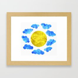 Cute blue cartoon clouds and sun. Framed Art Print
