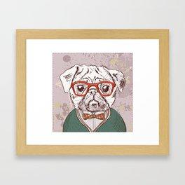 Hipster pug Framed Art Print