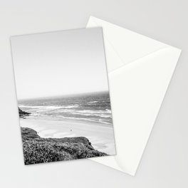 Beach Horizon | Black and White Color Sky Ocean Water Waves Coastal Landscape Photograph Stationery Cards