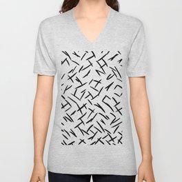 Modern abstract black hand painted brushstrokes Unisex V-Neck