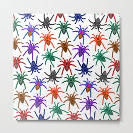 Spiders Colorful Halloween Tarantulas Pattern Metal Print
