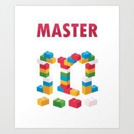 Toy Bricks Blocks Building Games Plaything Master Builder Gift Art Print