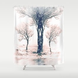Symmetrical Winter Forest Shower Curtain