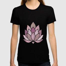 Elegant Glamorous Pink Rose Gold Lotus Flower T-shirt