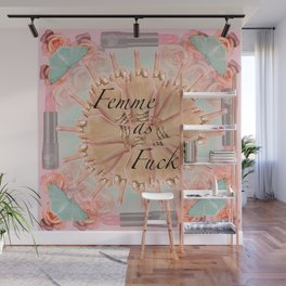 Femme as Fuck (ornate and pastel) Wall Mural