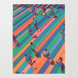 People crossing over pedestrian Poster