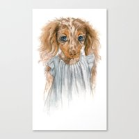 puppy Canvas Prints featuring Puppy by Leslie Evans