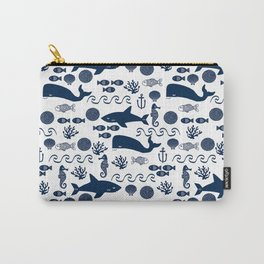 Sealife nautical navy and white modern trendy basic pattern print nursery pattern Carry-All Pouch