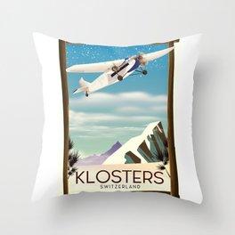 Klosters Switzerland vintage travel poster Throw Pillow