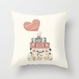 Always Travel With a Friend (Digital version) Throw Pillow