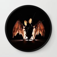 bat Wall Clocks featuring bat by new art