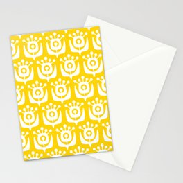 Retro Flower Pattern Yellow Stationery Cards