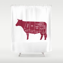 Beef Chart Cuts BBQ Barbecue Grill Shower Curtain