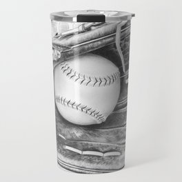 Softball (black and white) Travel Mug
