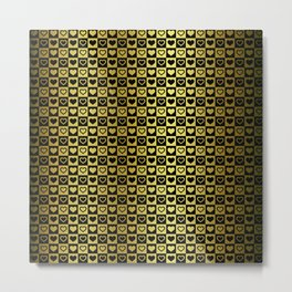 Gold & Black Valentines Loveheart Square Checkers Metal Print
