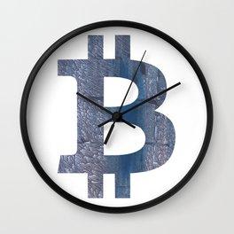 Bitcoin Slate gray vague watercolor painting Wall Clock
