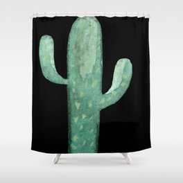 Arizona Night Cactus Mint Green Shower Curtain