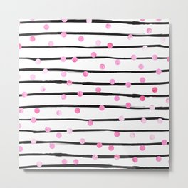 Blush pink black watercolor modern stripes polka dots Metal Print
