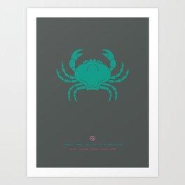 Cancer Zodiac / Crab Star Sign Poster Art Print